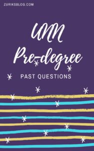 UNN Pre-degree Past Questions