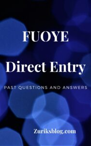 FUOYE Direct Entry Past Questions
