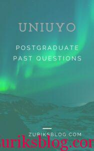 UNIUYO Postgraduate Past Questions