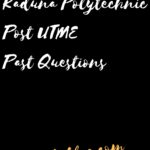 Kaduna Polytechnic Post UTME Past Questions And Answers